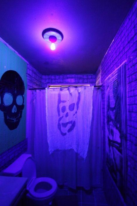 Blacklight In Spooky Bathroom