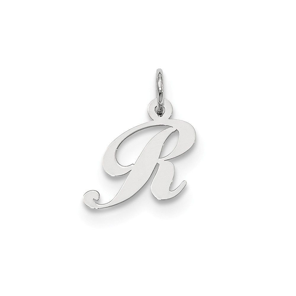 925 Sterling Silver Polished Small Fancy Script Initial Letter C Charm Pendant