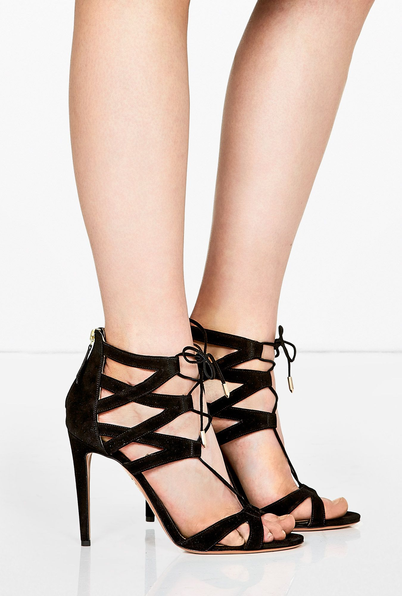 best wholesale get to buy for sale Aquazzura Suede Cutout Lace-Up Sandals clearance looking for discount codes really cheap official site online 2FgtN69gr
