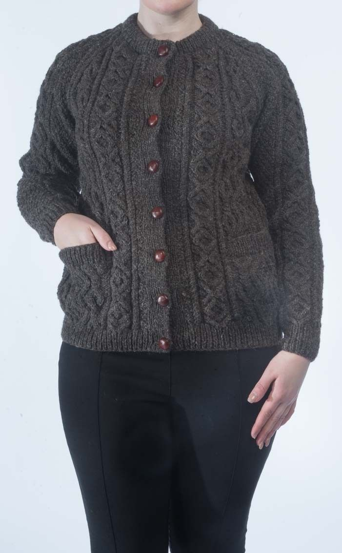 f4a89b81b CLAN - Ladies Luxury Hand-Knitted Aran Cardigan - Tay