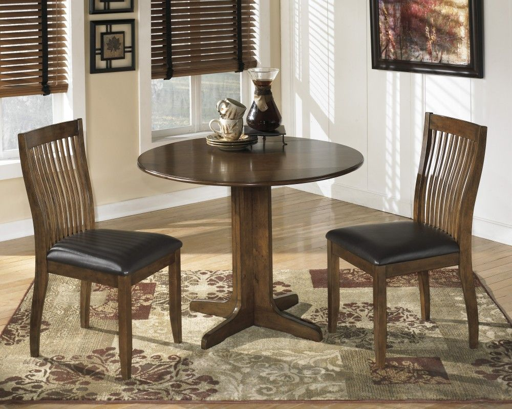 Stuman Round Drop Leaf Table Amp 2 Uph Side Chairs Dining