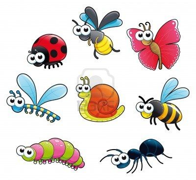 Bugs And A Snail Funny Cartoon And Vector Isolated Characters Insect Collection Bug Cartoon Art
