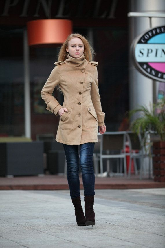 Size S Camel Wool Jacket Fitted Military Jacket Cashmere Coat Wool ...