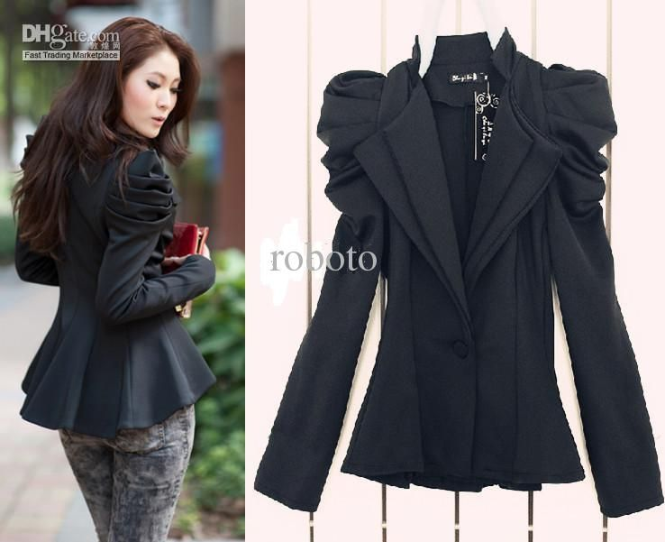 Ladies long black tailored jacket – Modern fashion jacket photo blog