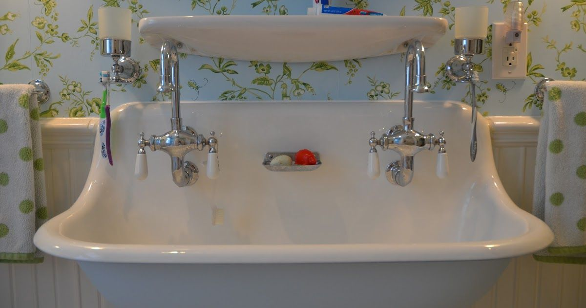 When We First Renovated The Children S Bathroom We Installed A Trough Sink With Two Faucets I D Seen A Similar Sink In A Magazine And Vintage Bathroom Sinks Trough Sink Bathroom