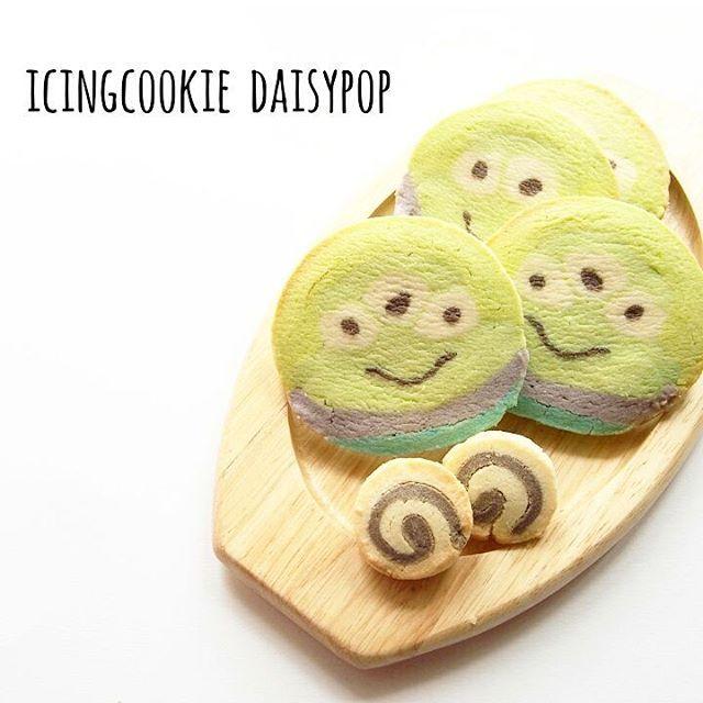 初めてのアイスボックスクッキー♡ これ難しい…(>_<) #アイスボックスクッキー #クッキー #cookies #sweets #おやつ #手作りおやつ #ディズニー #キャラクッキー #リトルグリーンメン #disneycookies #disney #littlegreenmen #トイストーリー #toystory