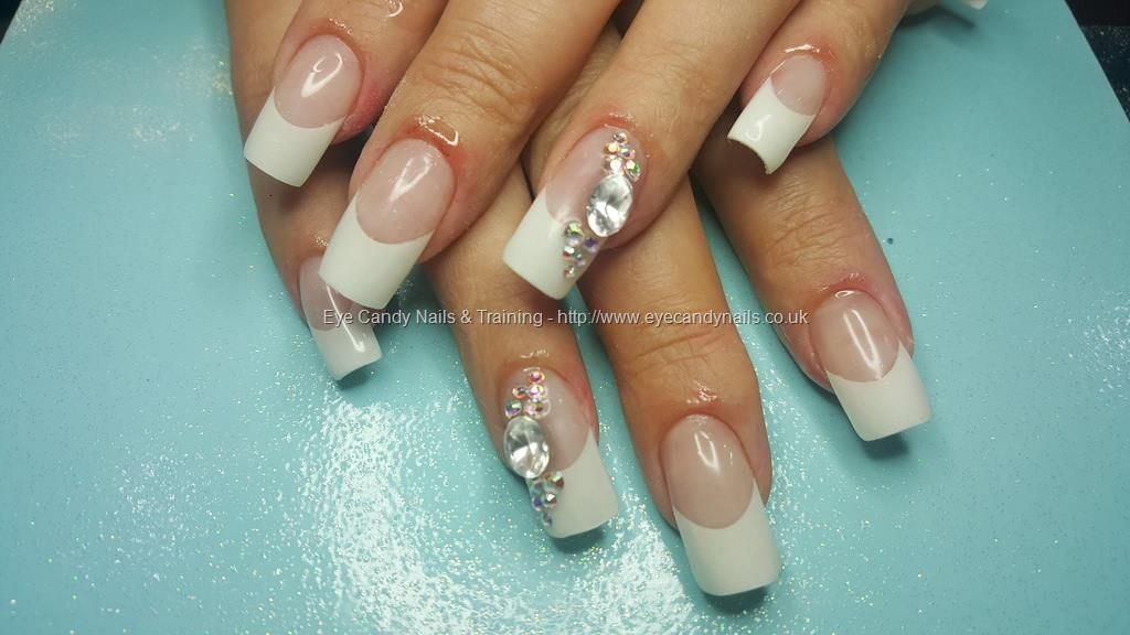 French acrylic nails with swarovski crystals | Love for beautiful ...