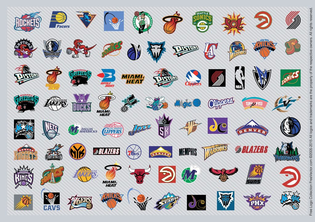 NBA Team Logos Free Vector / 4Vector Nba logo, Nba teams