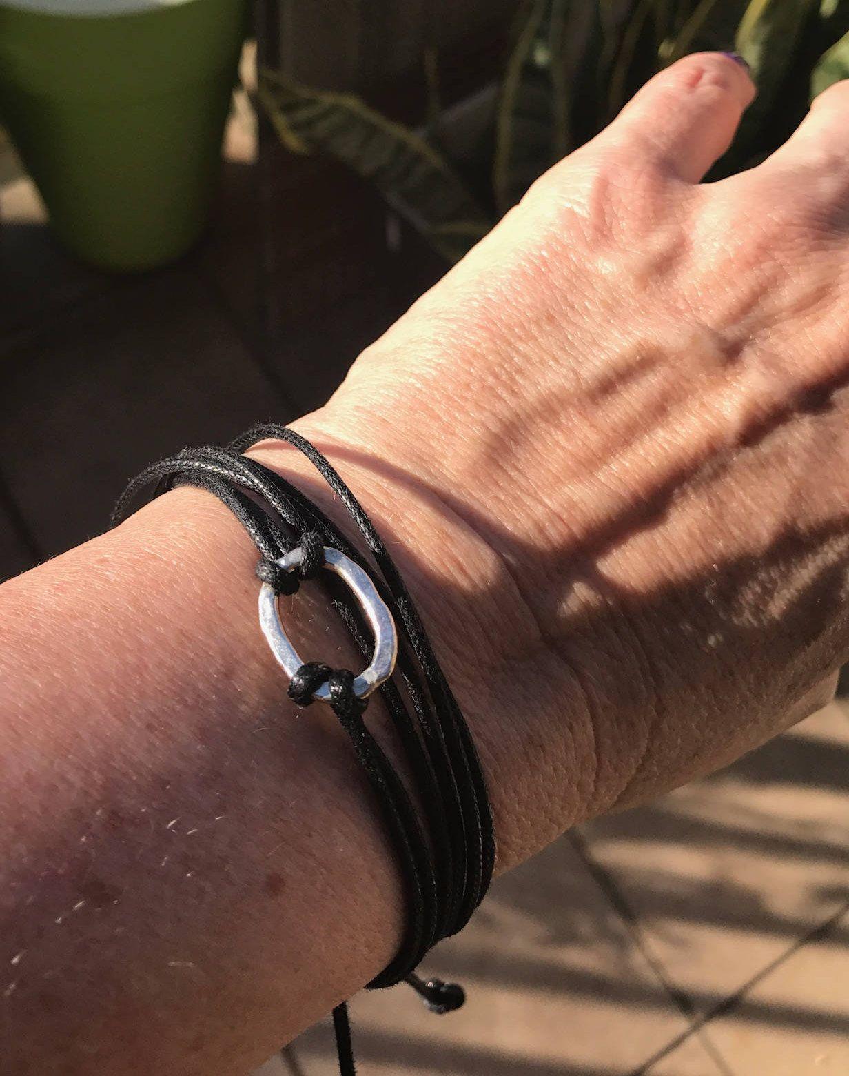 Sterling silver ring sliding knot bracelet boho hippie yoga