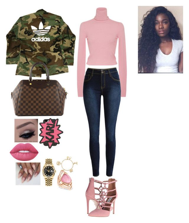 """""""💕every detail of this &  lately PINK too"""" by randys ❤ liked on Polyvore featuring A.L.C., Steve Madden, Lime Crime, adidas, Louis Vuitton, Karl Lagerfeld, Rolex, Liz Claiborne and Stephen Webster"""