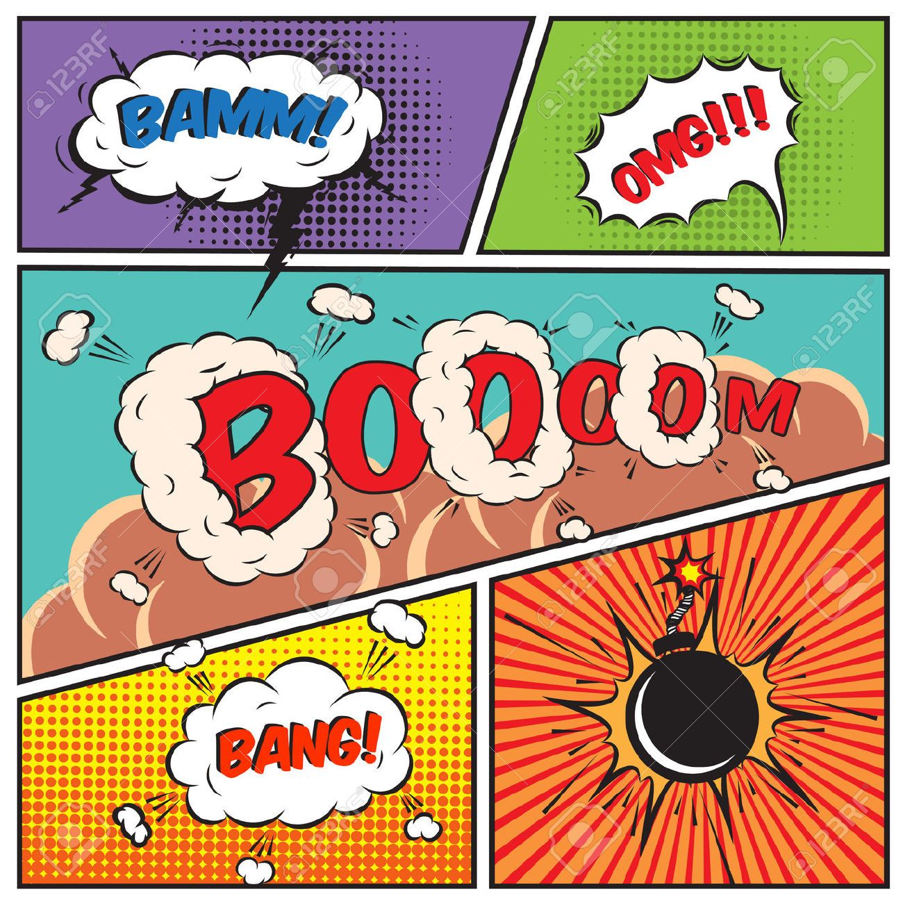 Comic Book Speech Bubbles And Strip Background Vector Illustration
