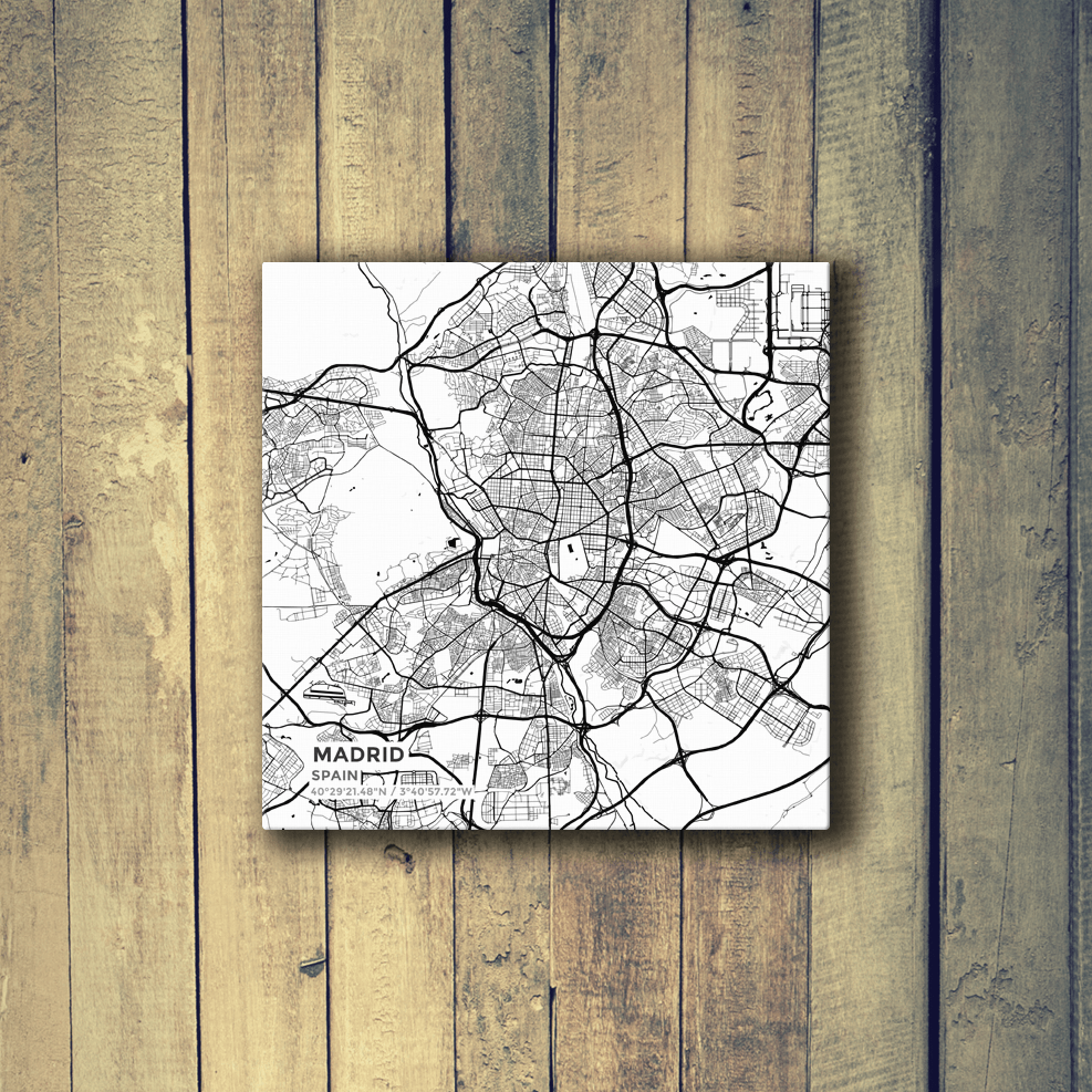 Gallery Wrapped Map Canvas of Madrid Spain Subtle Black Ink