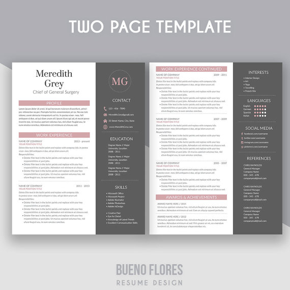 resume template  u0026quot meredith grey u0026quot    cover letter   20 icons