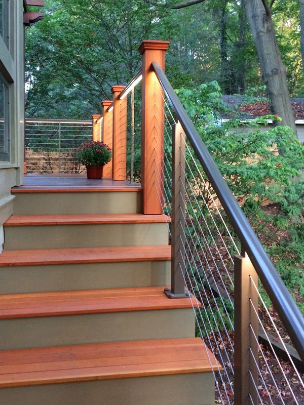 cable railing with rope lighting underneath | Outdoor ...