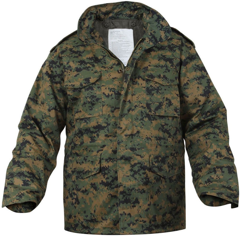 Woodland Digital Camouflage MARPAT M-65 Field Coat Army M65 Jacket w  Liner   Rothco  Military 8733a1a3f72