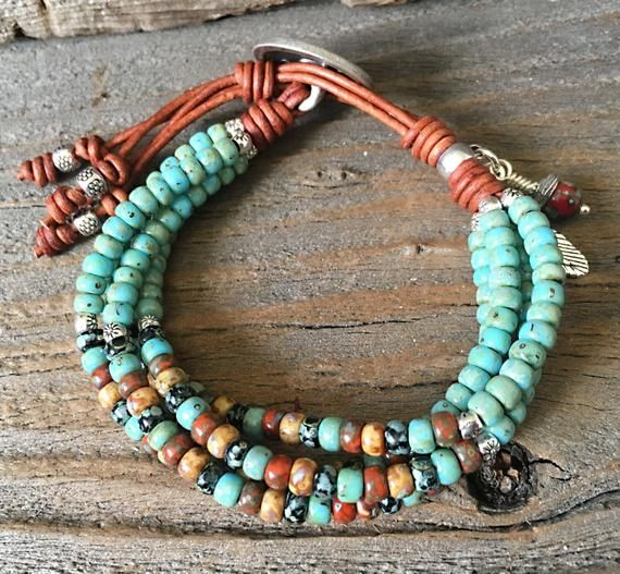 Photo of Seed Bead Leather Wrap Bracelets For Women/ Native American Style Mens Bracelet/ Boho Leather Bracelet.