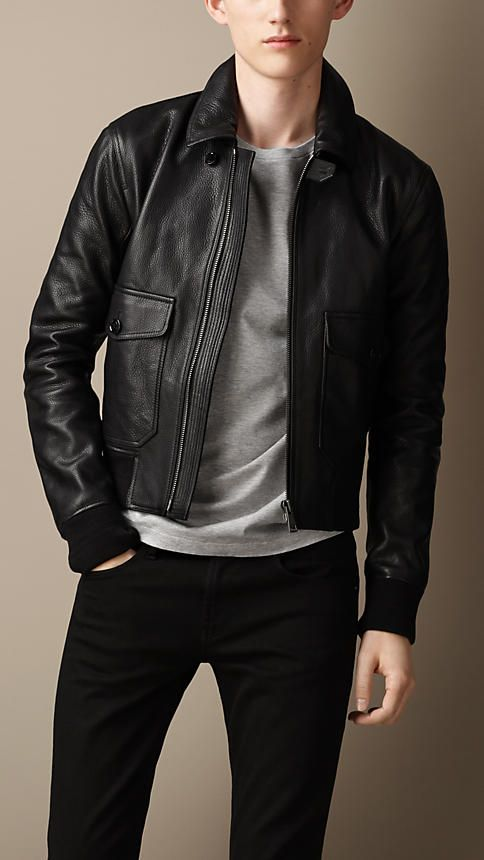 88d6920a6 Grainy Leather Bomber Jacket | Burberry | A Well Dressed MAN in 2019 ...