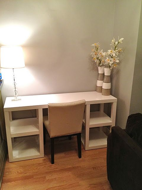 i think this is made of 4 LACK side tables and a table top. using LACK side  tables and a table top to create a desk!