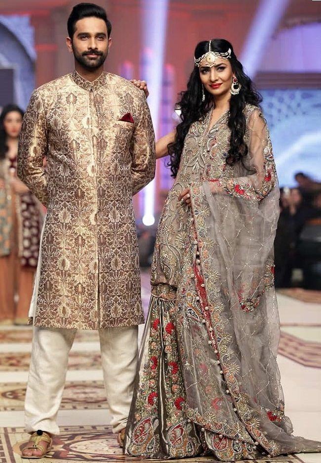 097e6640c0 golden jacquard fabric pakistani wedding sherwani 31 Best Pakistani Groom  Sherwani Designs for Wedding - LooksGud