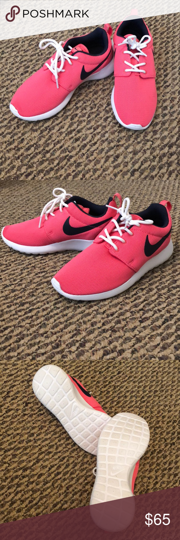970321c228d0 Pink and Navy Blue Nike Roshe Run Sneakers Size 6 Nike Roshe Run Sneakers