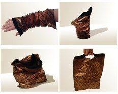 Bracelet turning into Bag<br />Copper and polyester<br />2009<br />