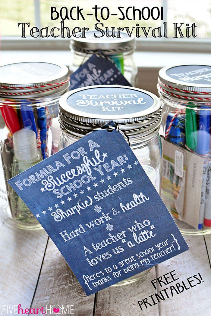 Christmas Gifts For High School Teachers Part - 50: Back To School Teacher Survival Kit Free Printables ~ Mason Jar Teacher Gift  Featuring Sharpies,