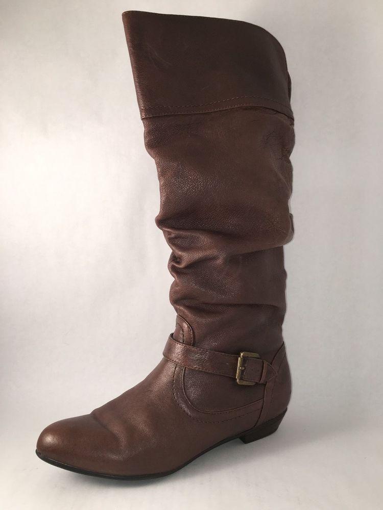 Steve Madden Kambyy 8M Leather Slouch Buckle Brown WOMEN'S #SteveMadden #SlouchBoots #Everyday