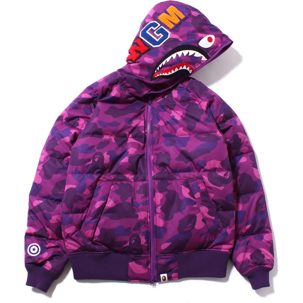 a1fc82700bd5 COLOR CAMO SHARK HOODIE DOWN JACKET