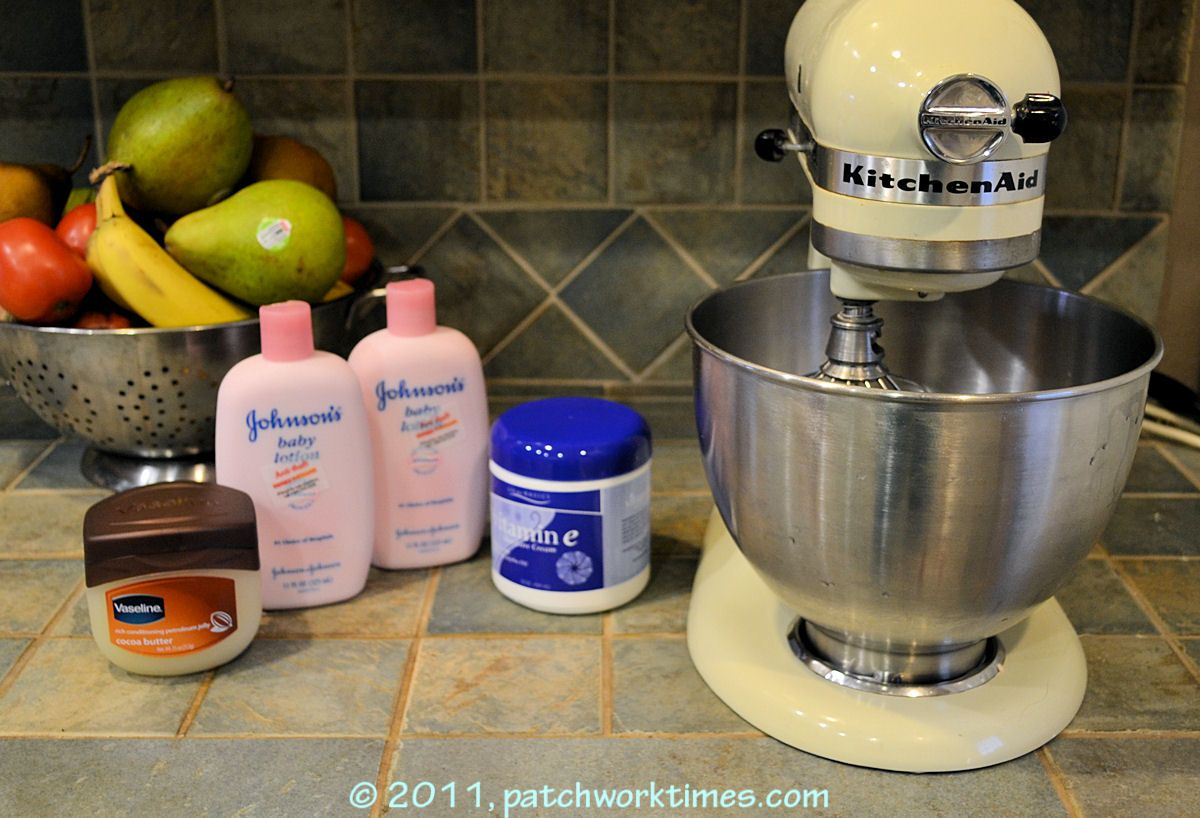 DIY Hand cream made by mixing baby lotion, Vitamin E cream and Vasoline