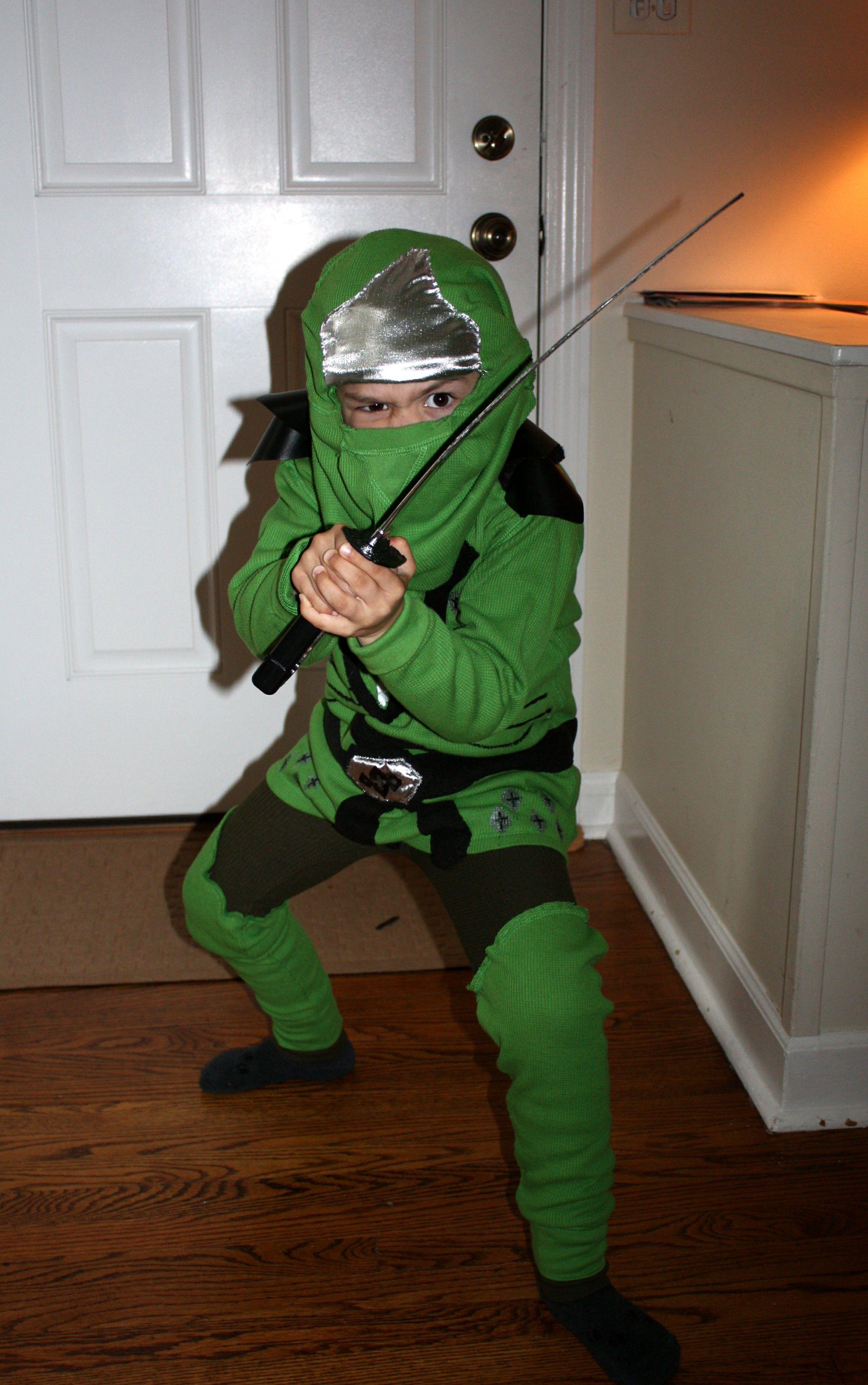 My little guy s homemade Lego Ninjago Halloween Costume  Green Ninja (Lloyd) dec9f53bbe2c3