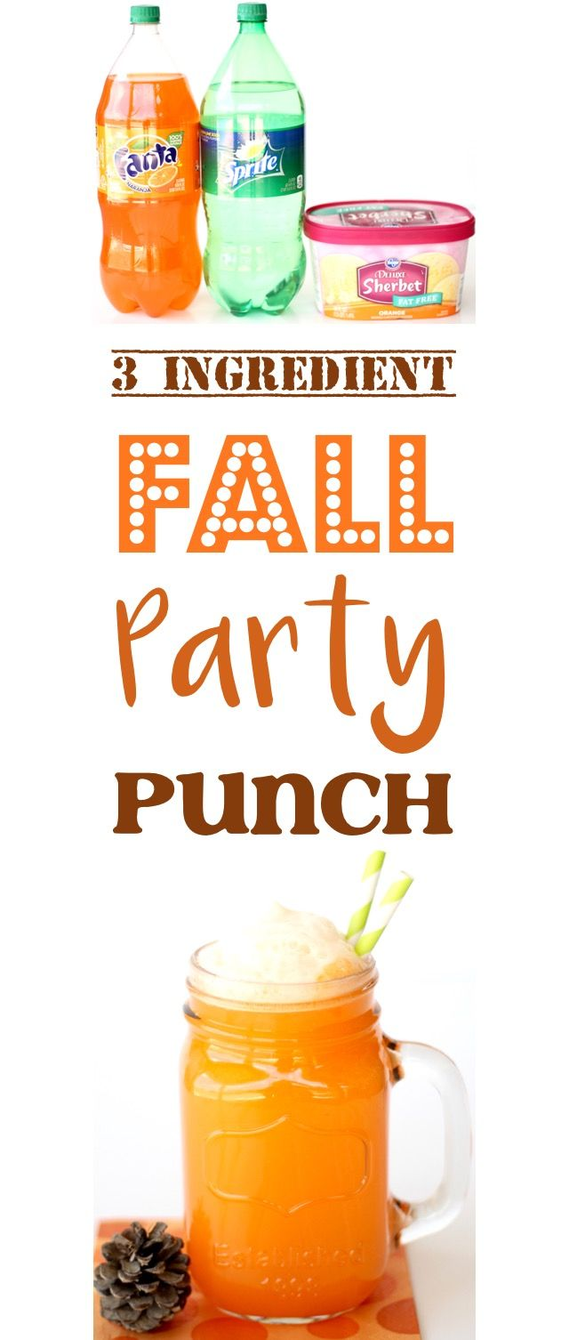 Orange Punch Recipes - this EASY Fall Party Punch is always the hit of the party with kids and adults!  Just 3 ingredients and SO delicious! #falldrinks