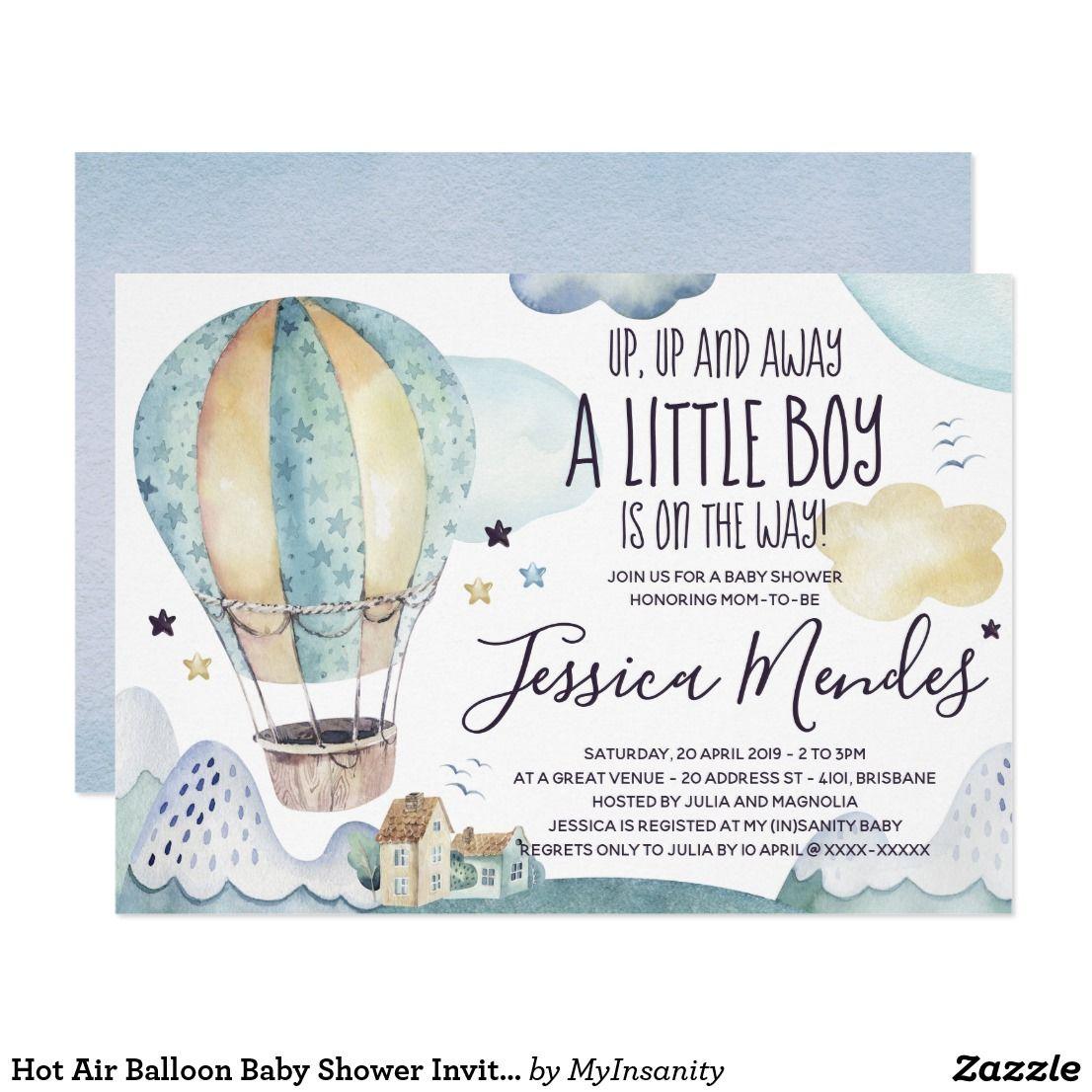 Hot Air Balloon Baby Shower Invitation   Zazzle.com