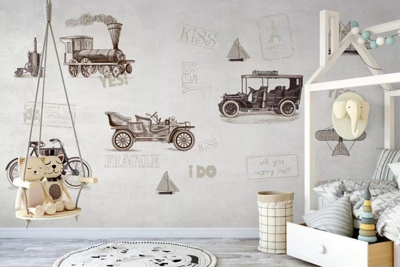 Retro Classic Car Wallpaper Kids Room Cars Wallpaer Mural Paper