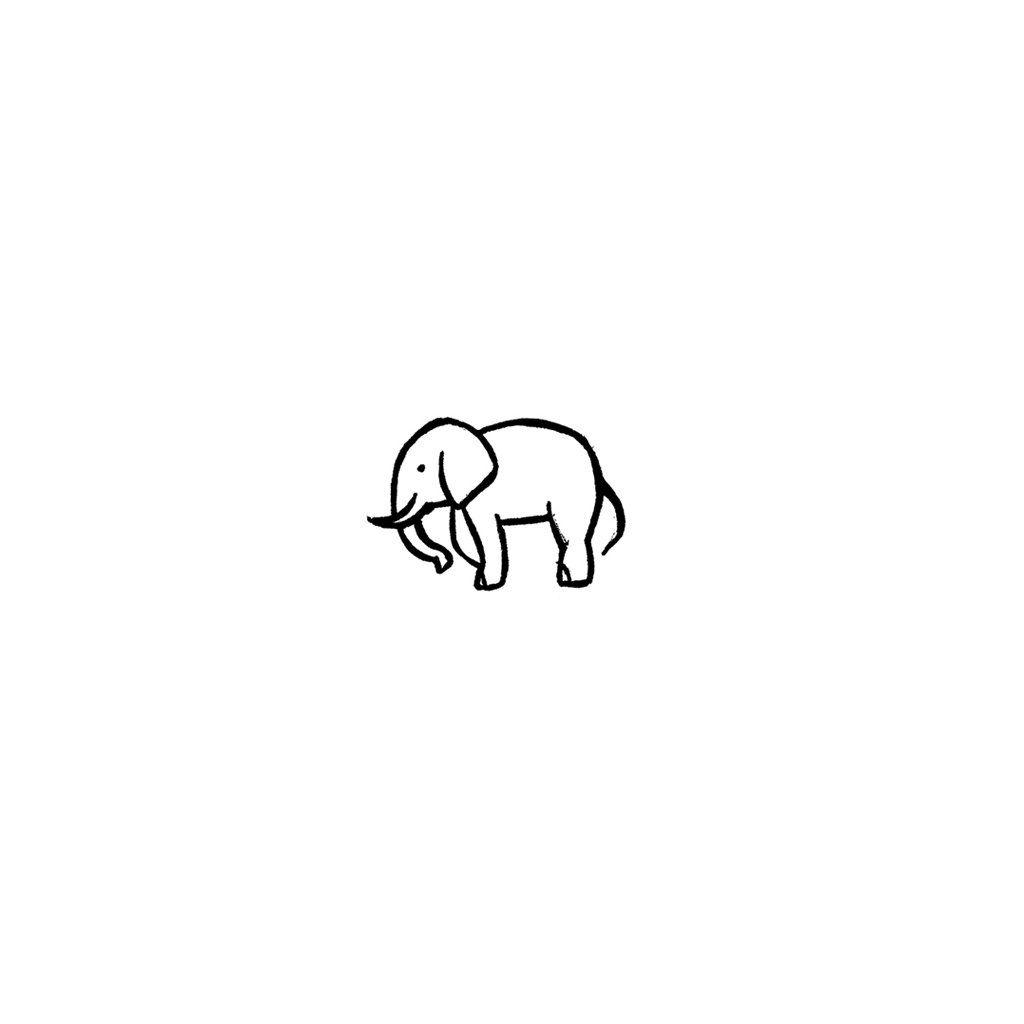Minimalist Elephant Drawing: Minimalist Elephant (Set Of 2)