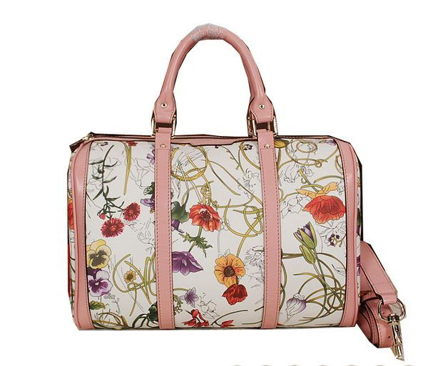 b7514f87a7b Gucci Vintage Flora Leather Boston Bag 247205 Pink -  239.00