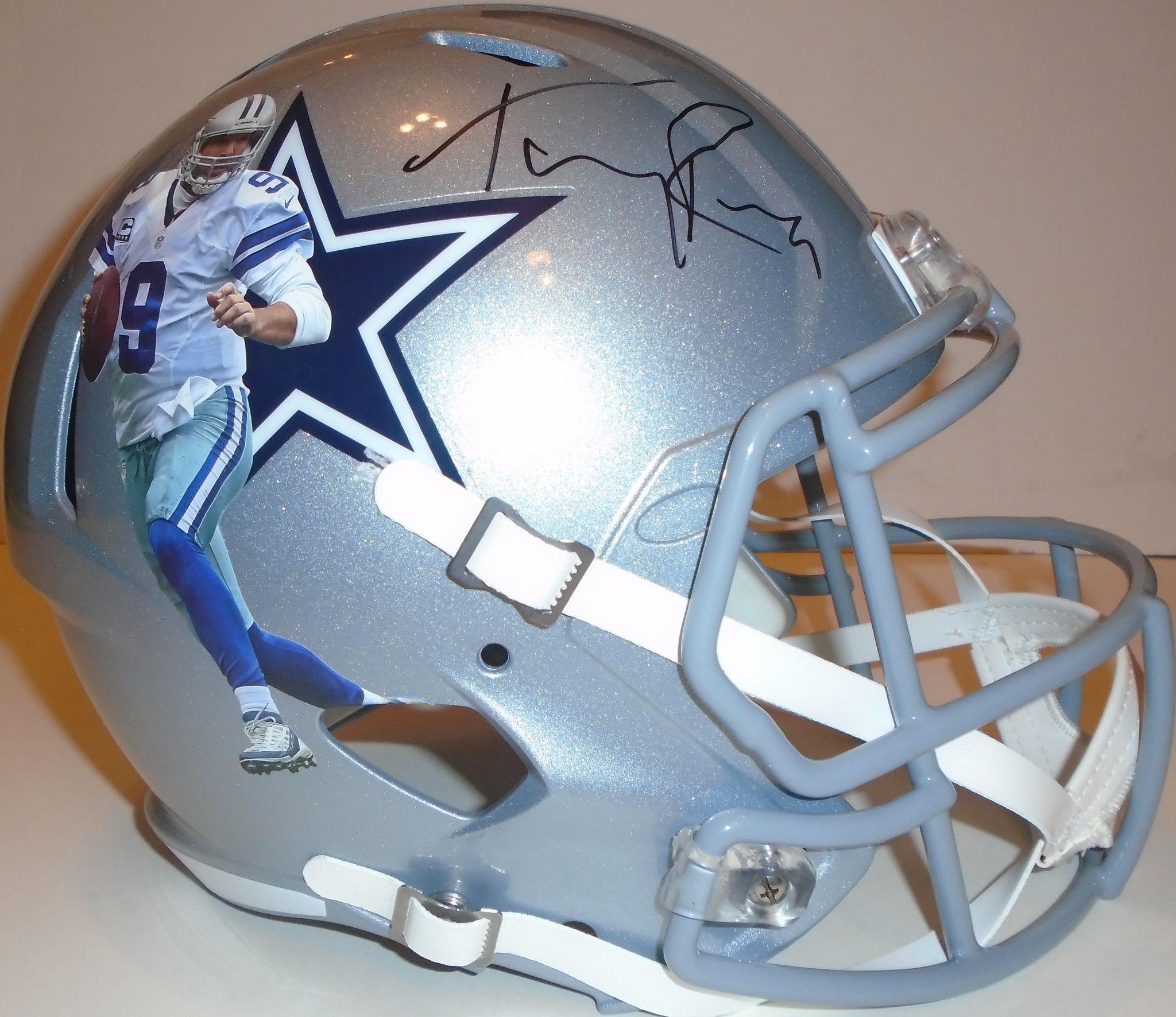 Tony Romo signed Dallas Cowboys Riddell full size football helmet w  proof e1d9dd3c8