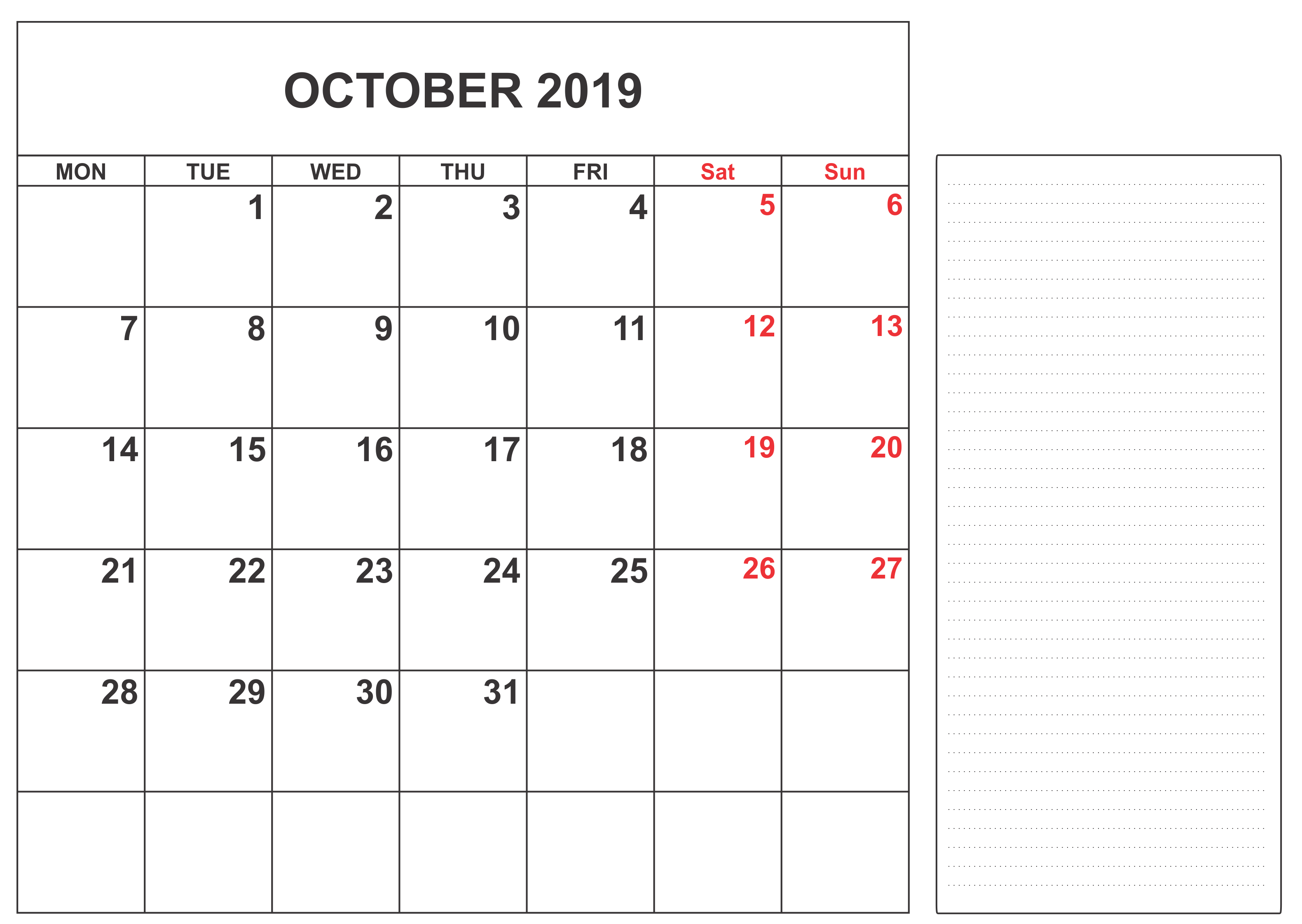 Calendar October 2019 Uk Calendar October Calendar Blank Calendar