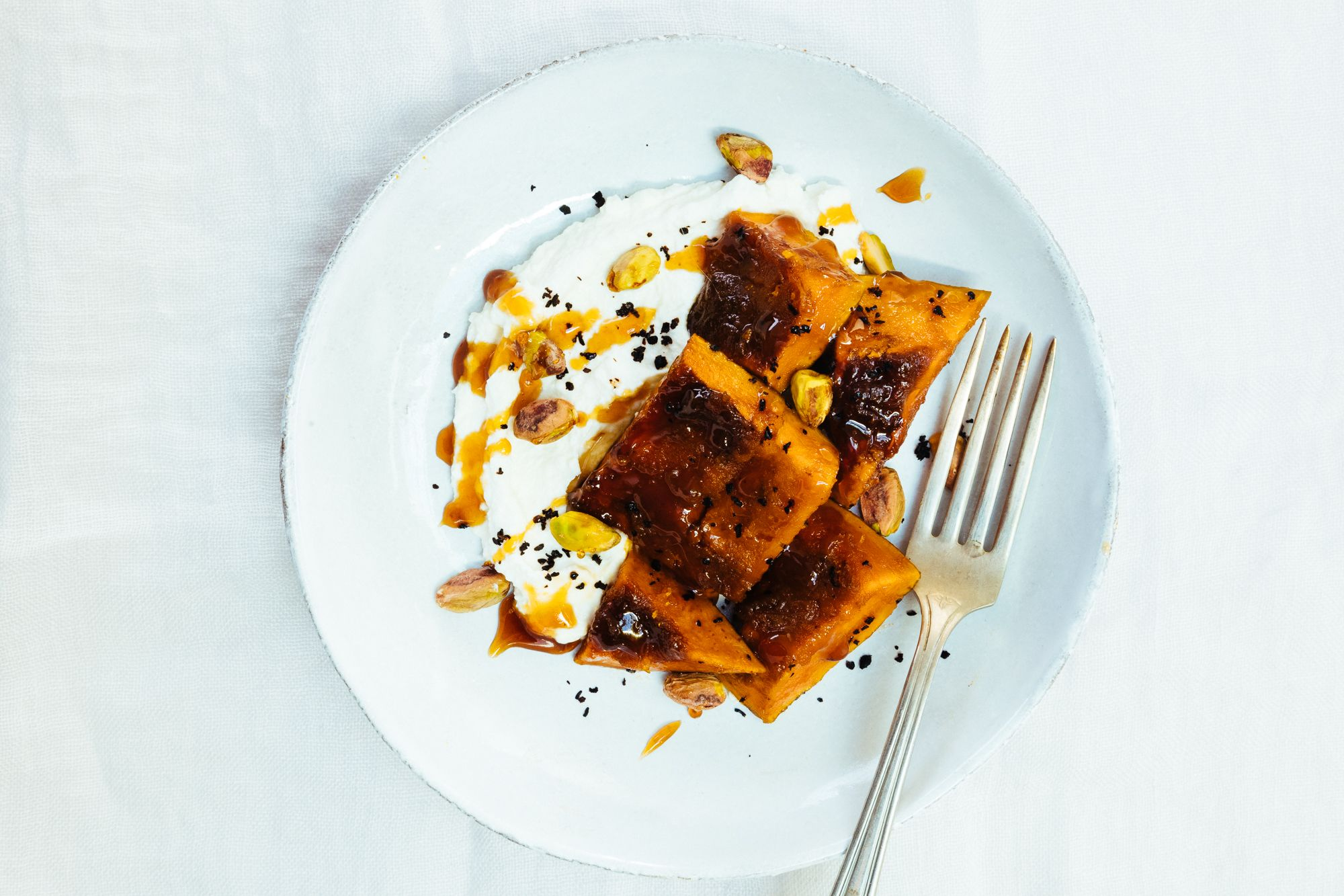 Slow candied kabocha with ricotta and pistachios a take on a dish sweet tooth forumfinder Image collections