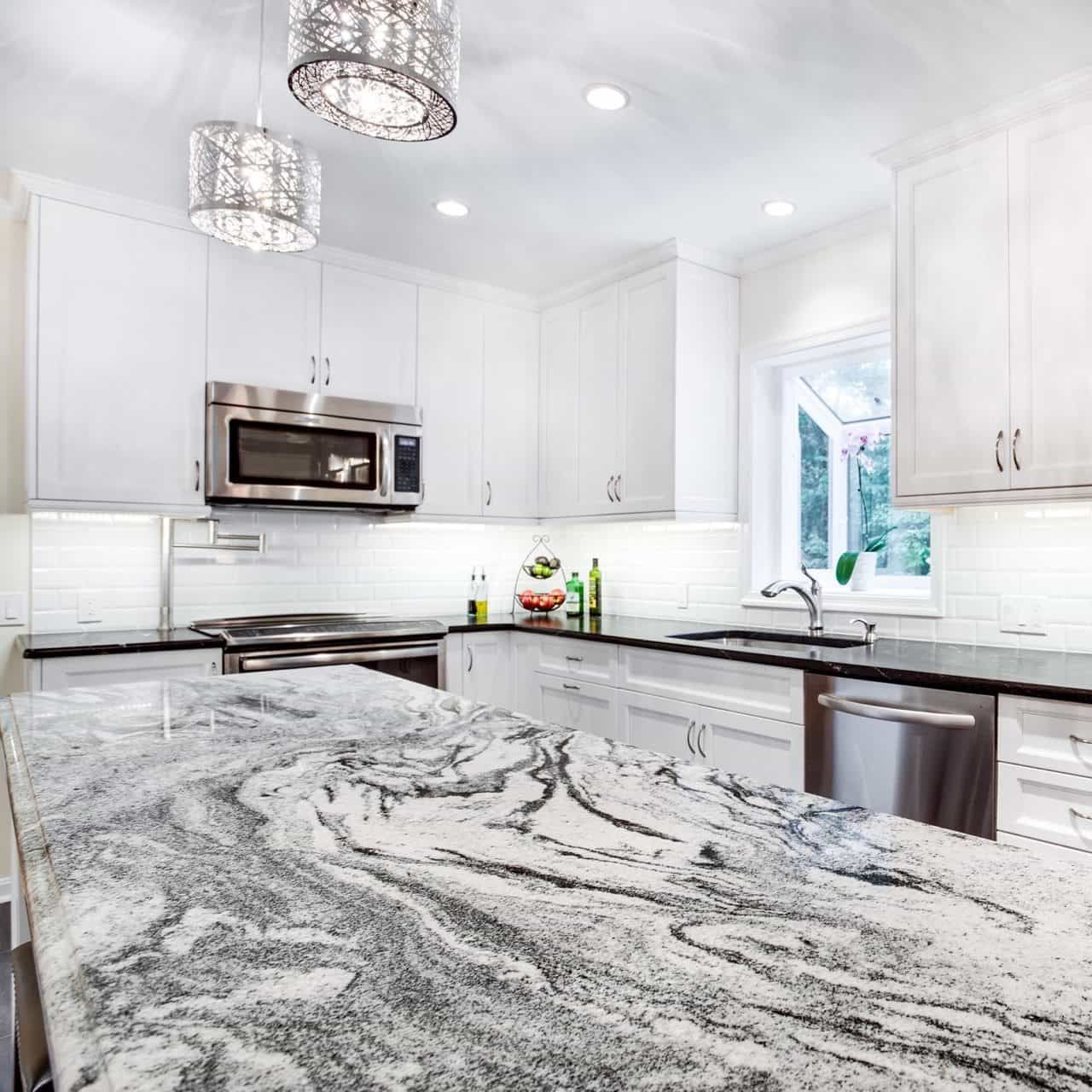 White Kitchen Cabinets With White Marble Countertops: The Most Popular Granite Kitchen Countertops In 2019