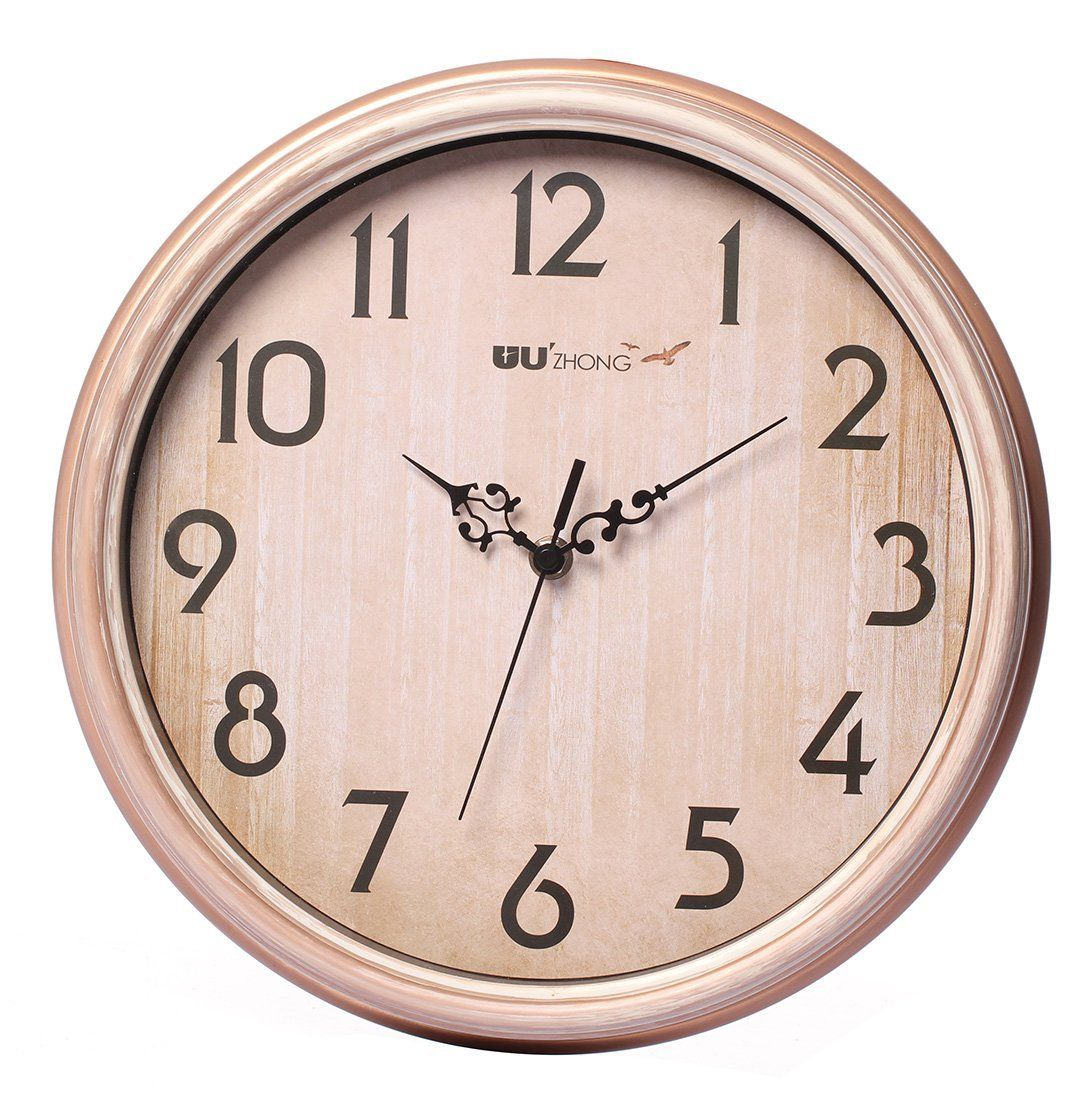 Maywhen Indoor 12 Inch Decorative Non Ticking Silent Wall Clock Champagne Gold Modern Analog Quiet Wall Clock More Info Cou Gold Wall Clock Clock Wall Clock
