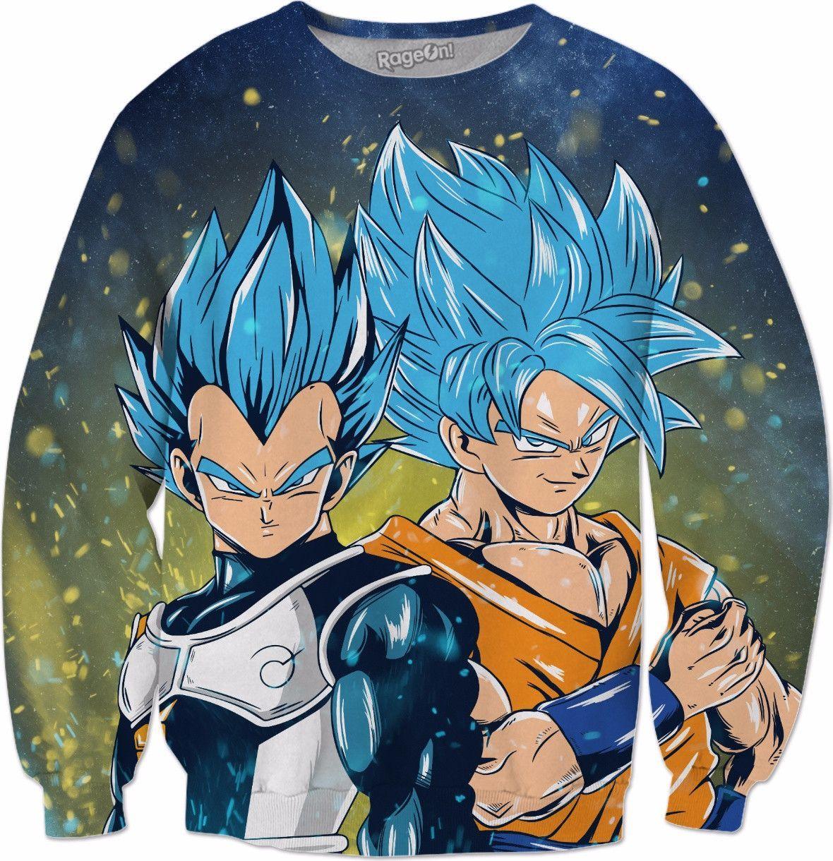 de30140e Super Saiyan - Goku & Vegeta SSj Blue Smile - All Over Print Sweatshirt -  RO01173AS