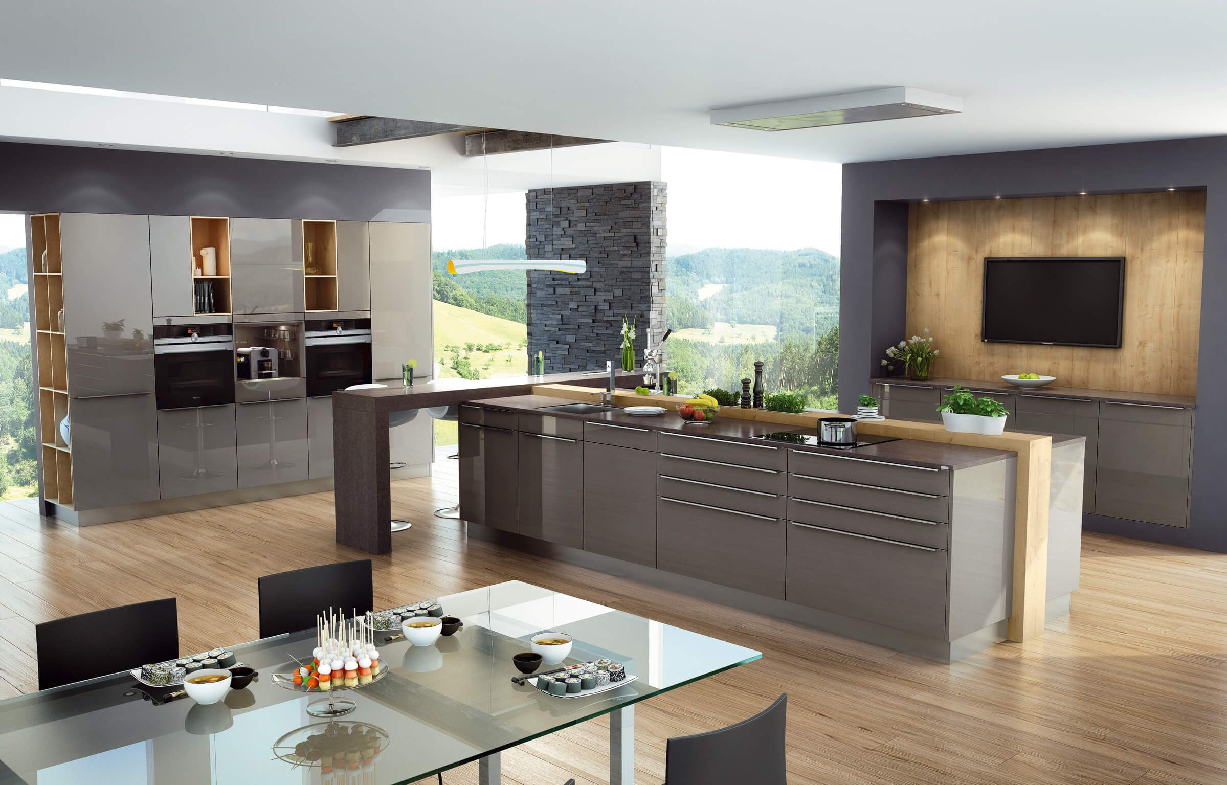 Küche Hochglanz, grau, Fronten, Lack, Küchenfronten, glänzend, Idee ...