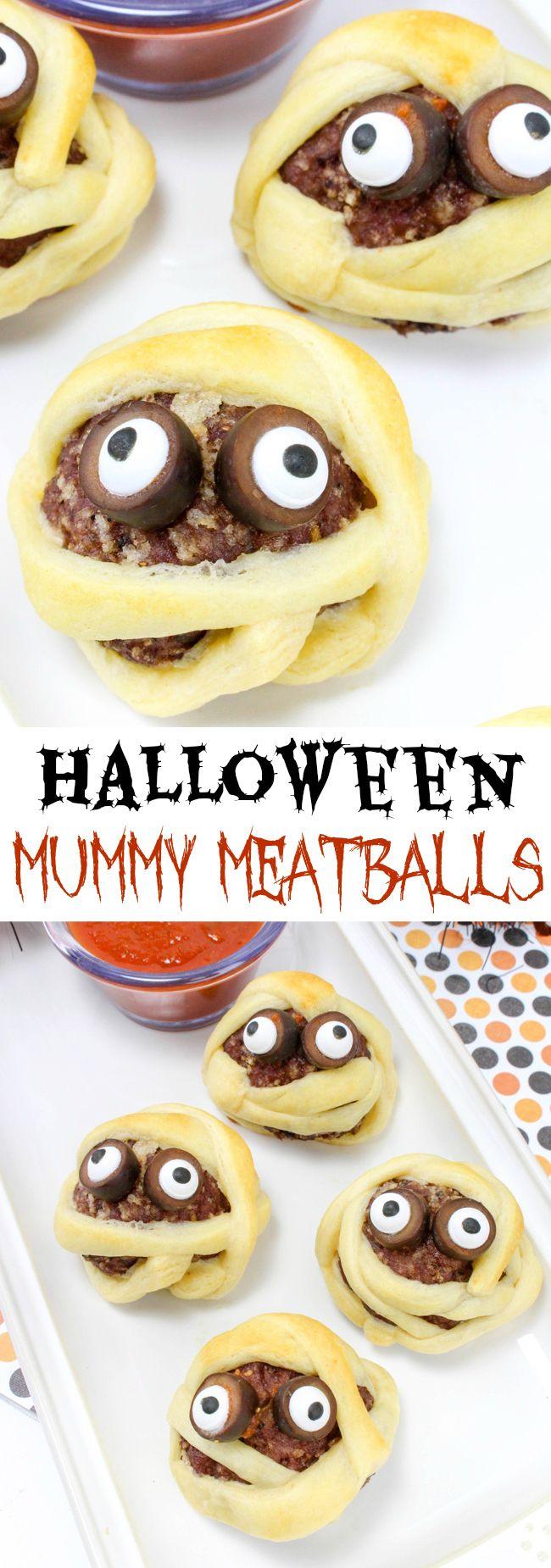 Halloween Mummy Meatball Recipe Halloween dinner, Food