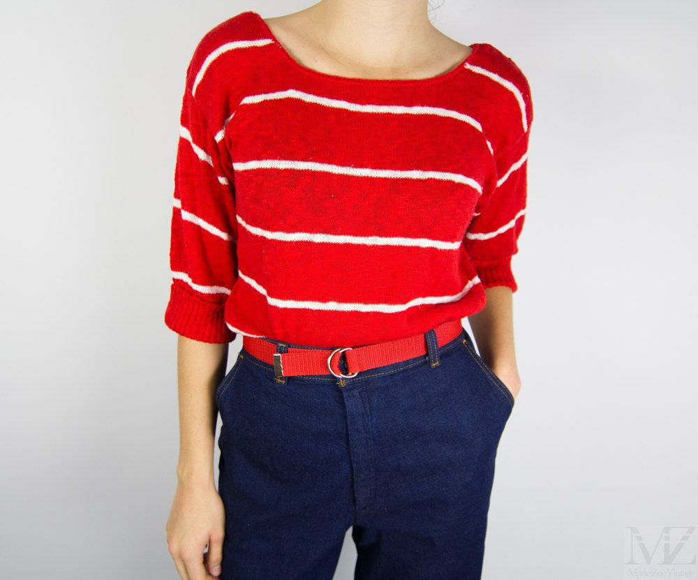 Vintage 1960's Red Knit Sweater / Striped Shirt / Tunic Sweater ...