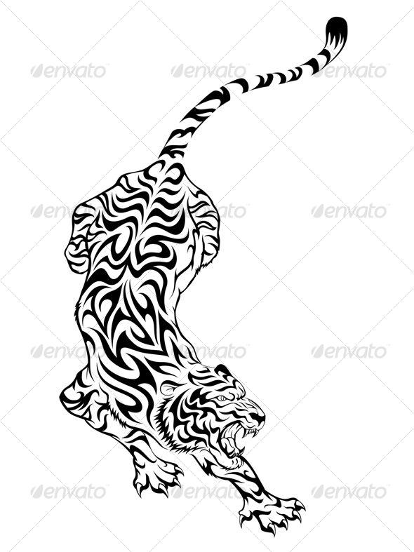 e19a96870dda4 Tiger Tattoo 3 - Tattoos Vectors   Tattoos   Tiger tattoo, Tribal ...