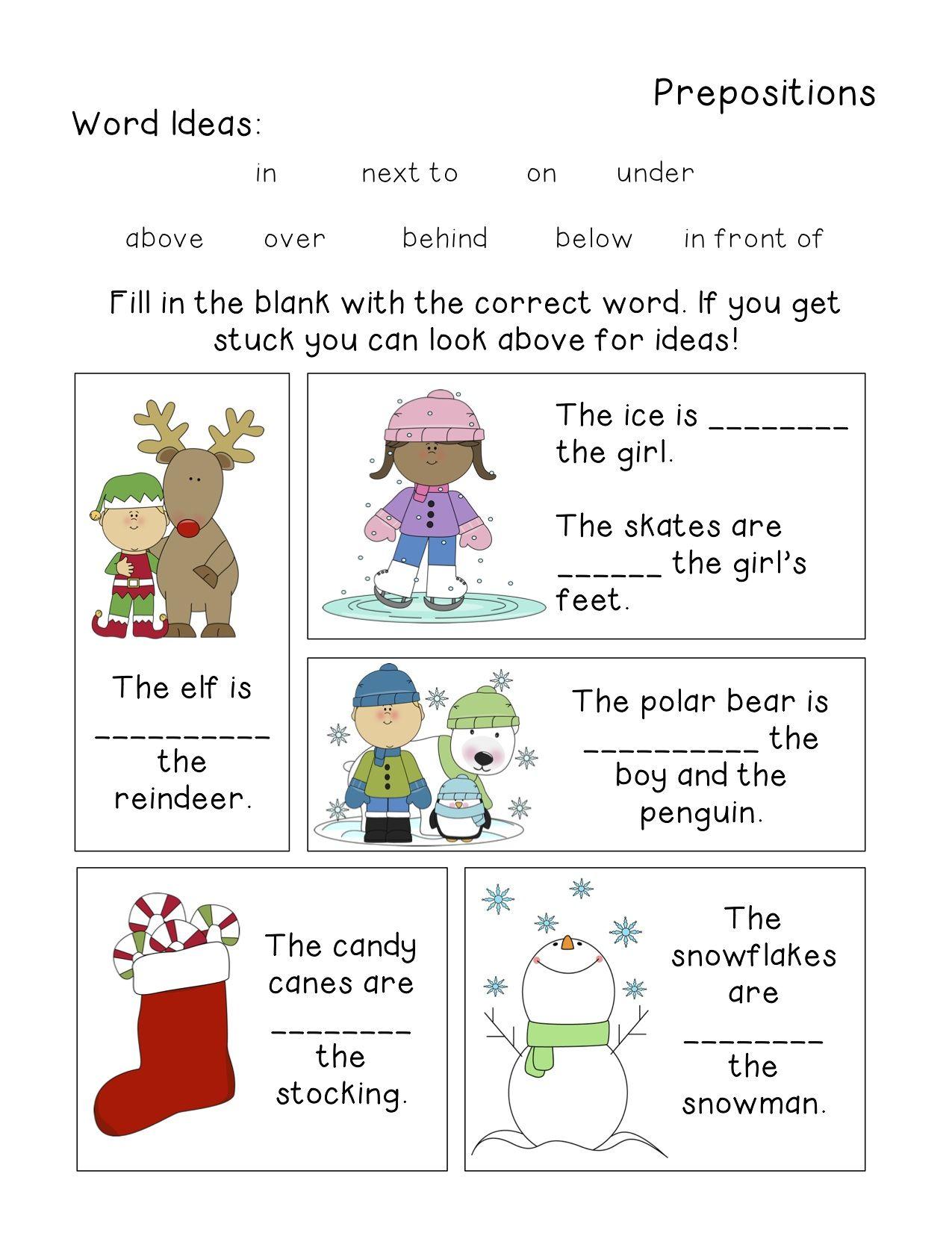 Winter Themed Grammar Worksheets Grammar Worksheets Prepositions