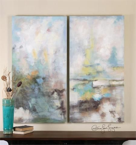 This set of decorative canvas wall panels ship free and feature a hand painted abstract in earth toned and pastel colors. Set of 2.