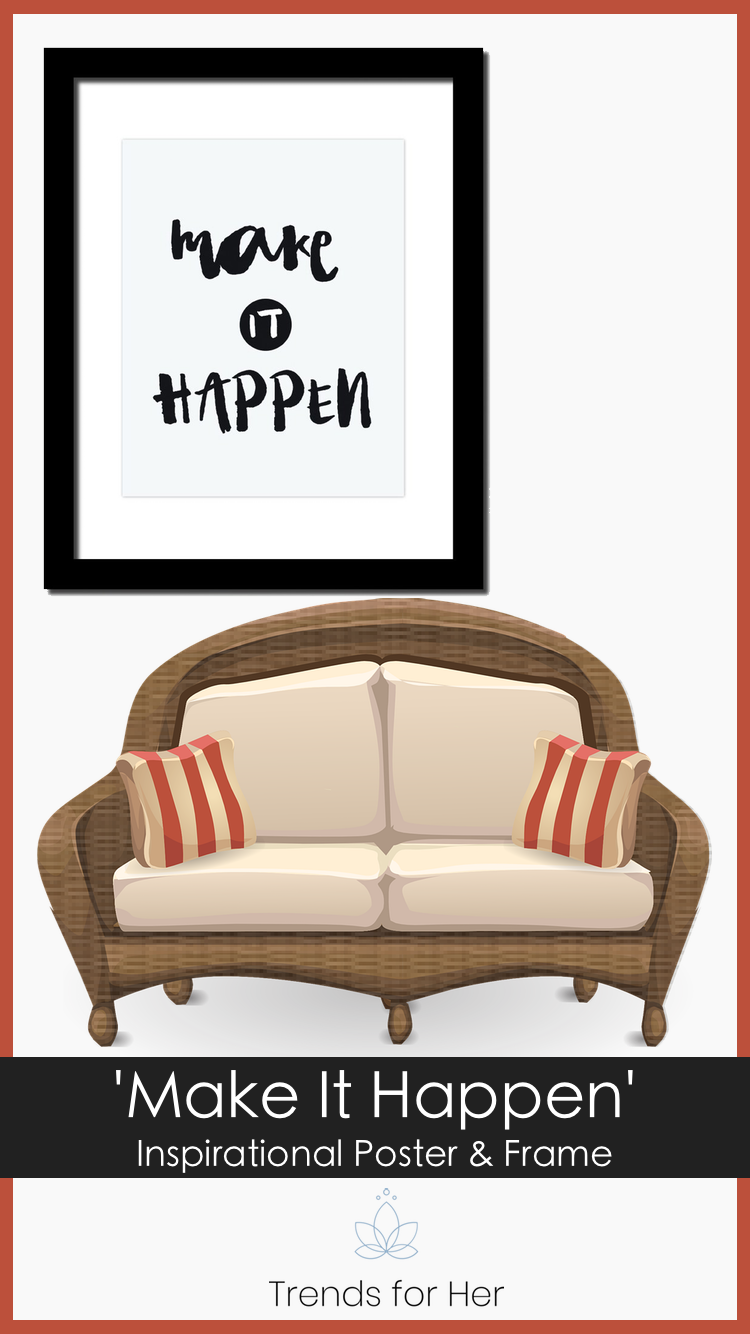 Make it Happen Inspirational Poster and Frame   Empowering Wall ...