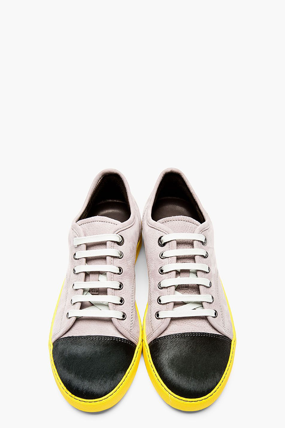 LANVIN Grey leather \u0026 calf,hair Tennis sneakers, Men\u0027s Spring Summer