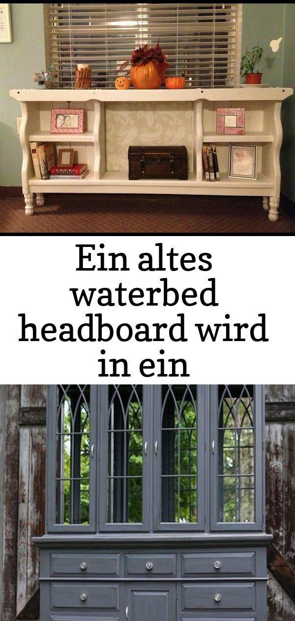 Ein altes waterbed headboard wird in ein bücherregal eingeschaltet  dies ist so eine nette idee 30 EIN ALTES WATERBED HEADBOARD WIRD IN EIN BÜCHERREGAL EINGESCH...